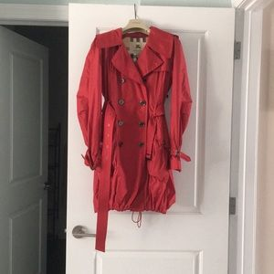 Red Hooded Burberry Trench Raincoat with Belt